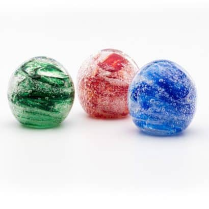 Memorial Glass Bubbles Memorial Domes emerald green, red and cobalt blue